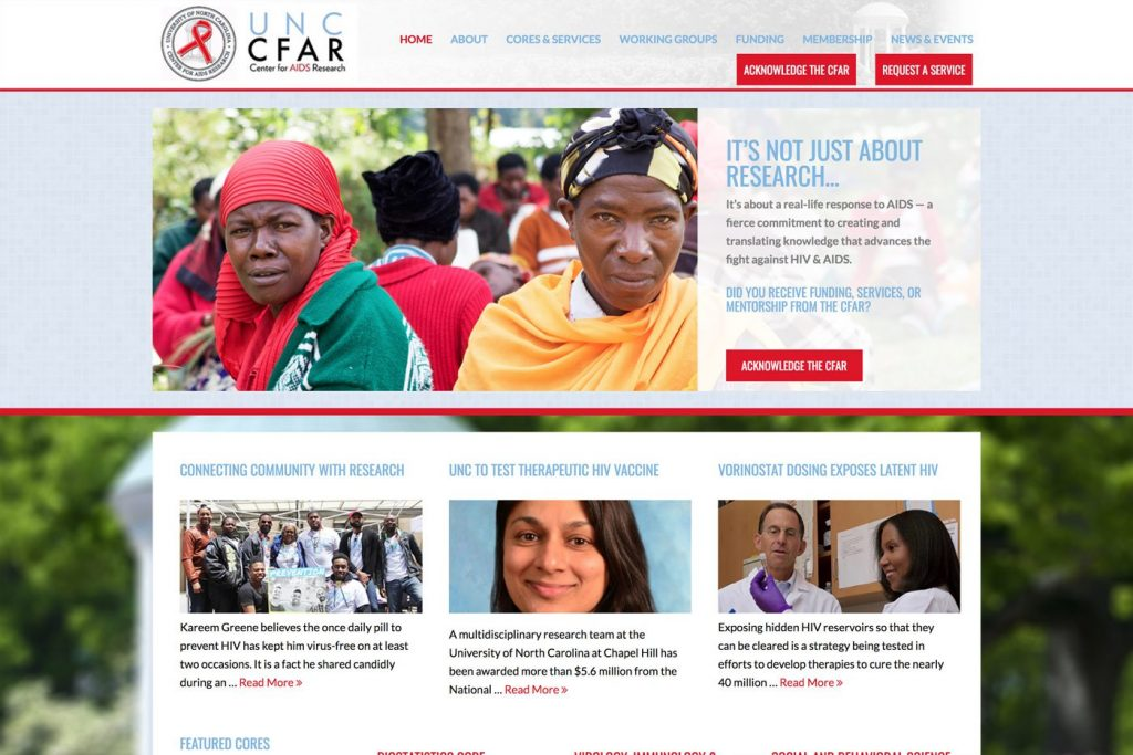CFAR - Desktop Web Design View