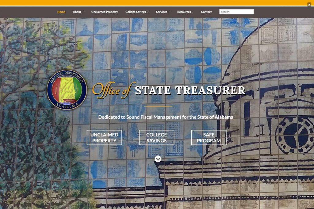 Alabama State Treasury Desktop View