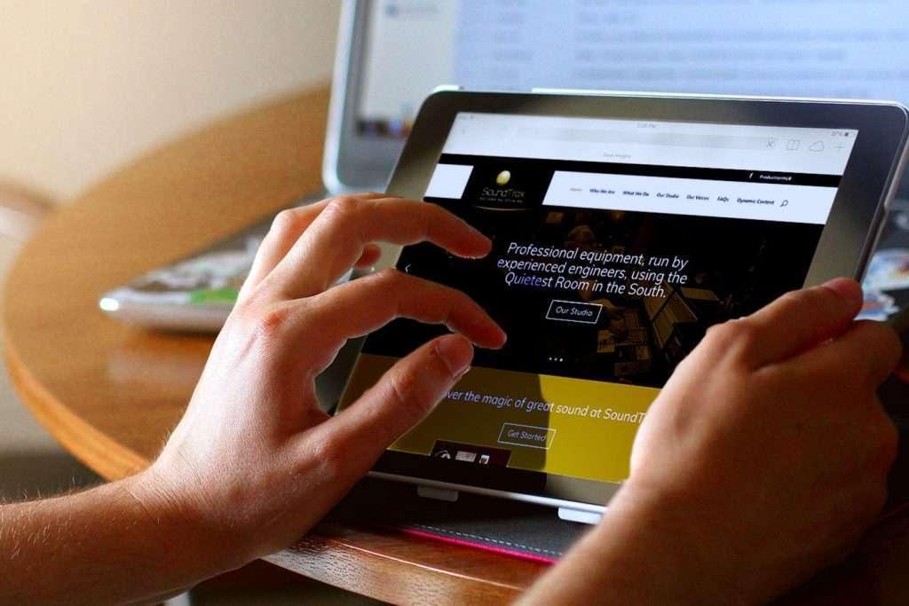 SoundTrax Recording Studio Website Design Tablet View