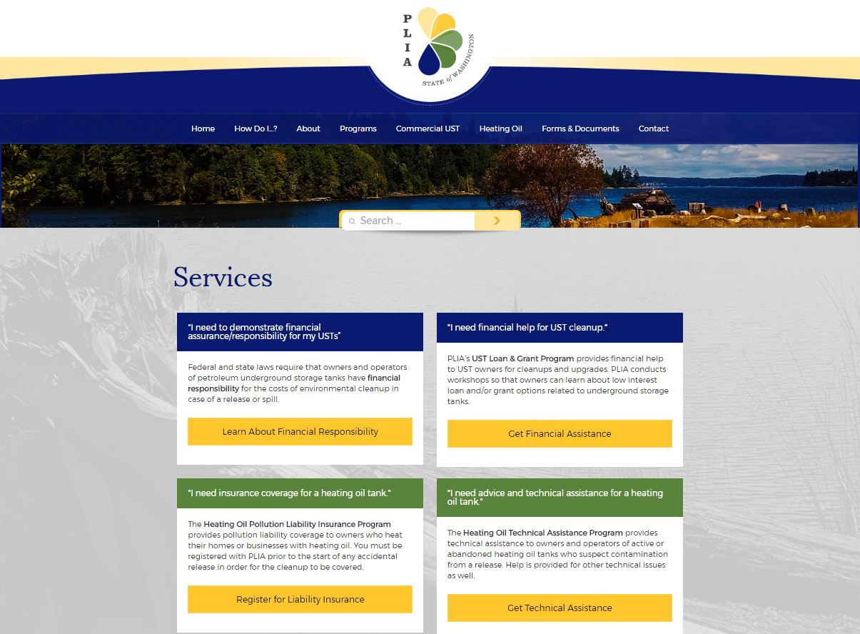 Pollution Liability Insurance Agency for the State of Washington Homepage header