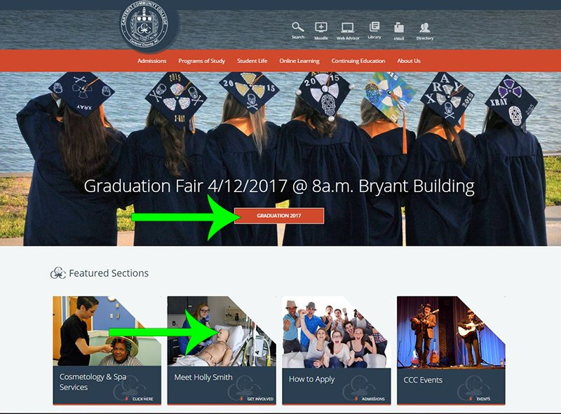 Carteret Community College homepage animation examples